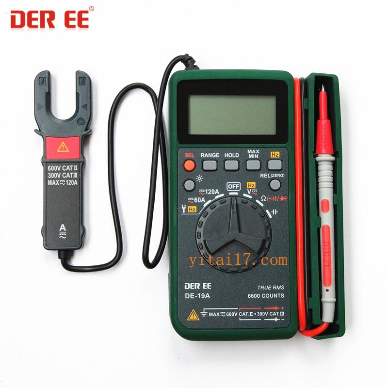 台湾得益DE-19A(真有效值)数字卡片电容万用表带带钳头